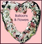 Balloons and Flowers in Heart Shape